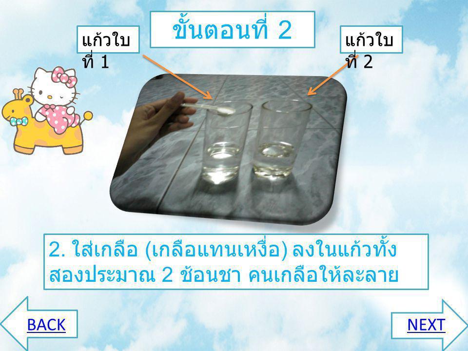 ขั้นตอนที่ 1 1. นำแก้วน้ำสีใส ใส่ น้ำเปล่า ¼ แก้ว BACKNEXT แก้วใบ ที่ 1 แก้วใบ ที่ 2