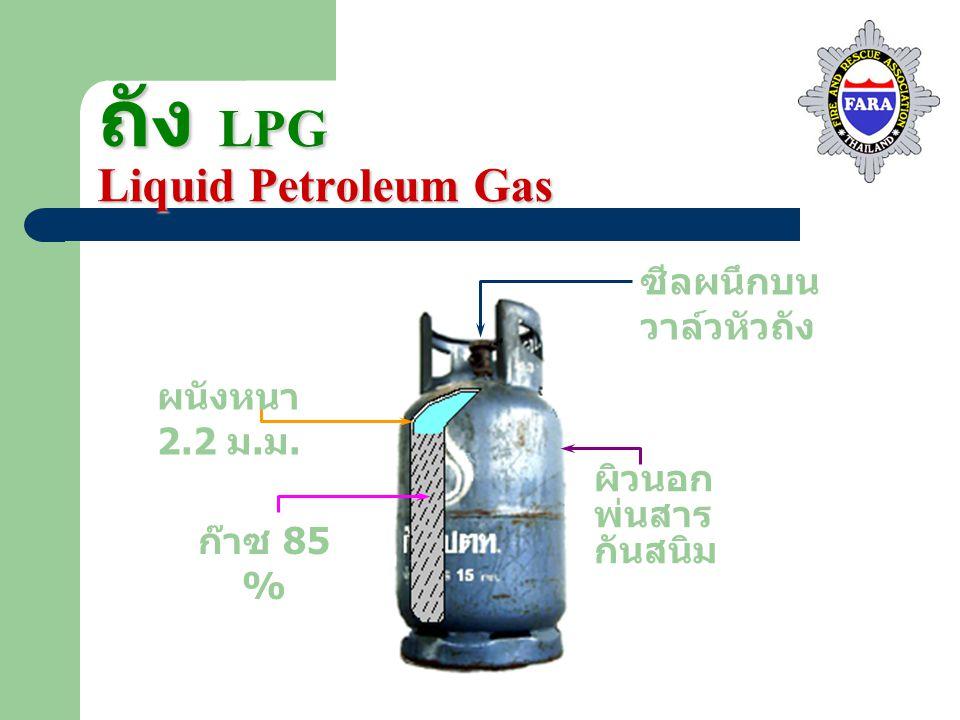 ถัง LPG Liquid Petroleum Gas ซีลผนึกบน วาล์วหัวถัง ผนังหนา 2.2 ม. ม. ก๊าซ 85 % ผิวนอก พ่นสาร กันสนิม
