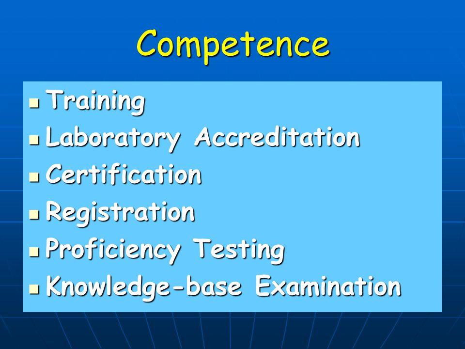 Competence Training Training Laboratory Accreditation Laboratory Accreditation Certification Certification Registration Registration Proficiency Testing Proficiency Testing Knowledge-base Examination Knowledge-base Examination