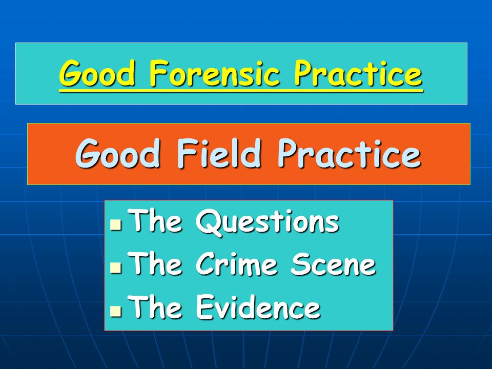 Good Field Practice The Questions The Questions The Crime Scene The Crime Scene The Evidence The Evidence Good Forensic Practice