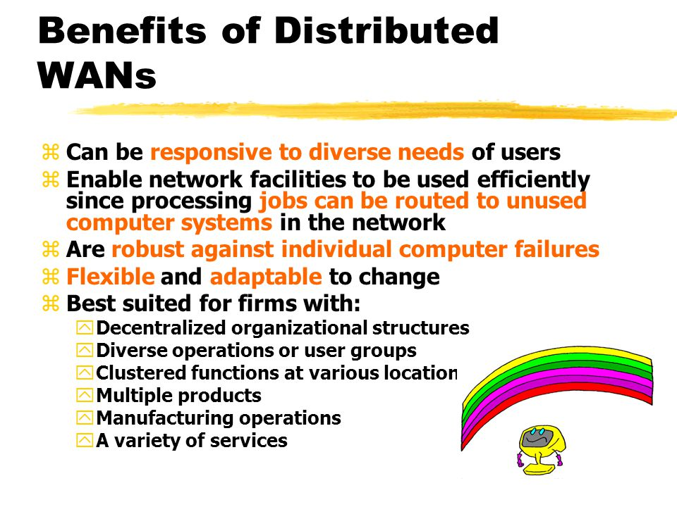 Benefits of Distributed WANs zCan be responsive to diverse needs of users zEnable network facilities to be used efficiently since processing jobs can be routed to unused computer systems in the network zAre robust against individual computer failures zFlexible and adaptable to change zBest suited for firms with: yDecentralized organizational structures yDiverse operations or user groups yClustered functions at various locations yMultiple products yManufacturing operations yA variety of services
