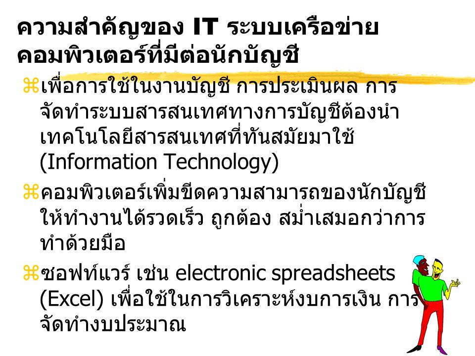 ความสำคัญของ IT ระบบเครือข่าย คอมพิวเตอร์ที่มีต่อนักบัญชี zเพื่อการใช้ในงานบัญชี การประเมินผล การ จัดทำระบบสารสนเทศทางการบัญชีต้องนำ เทคโนโลยีสารสนเทศที่ทันสมัยมาใช้ (Information Technology) zคอมพิวเตอร์เพิ่มขีดความสามารถของนักบัญชี ให้ทำงานได้รวดเร็ว ถูกต้อง สม่ำเสมอกว่าการ ทำด้วยมือ zซอฟท์แวร์ เช่น electronic spreadsheets (Excel) เพื่อใช้ในการวิเคราะห์งบการเงิน การ จัดทำงบประมาณ