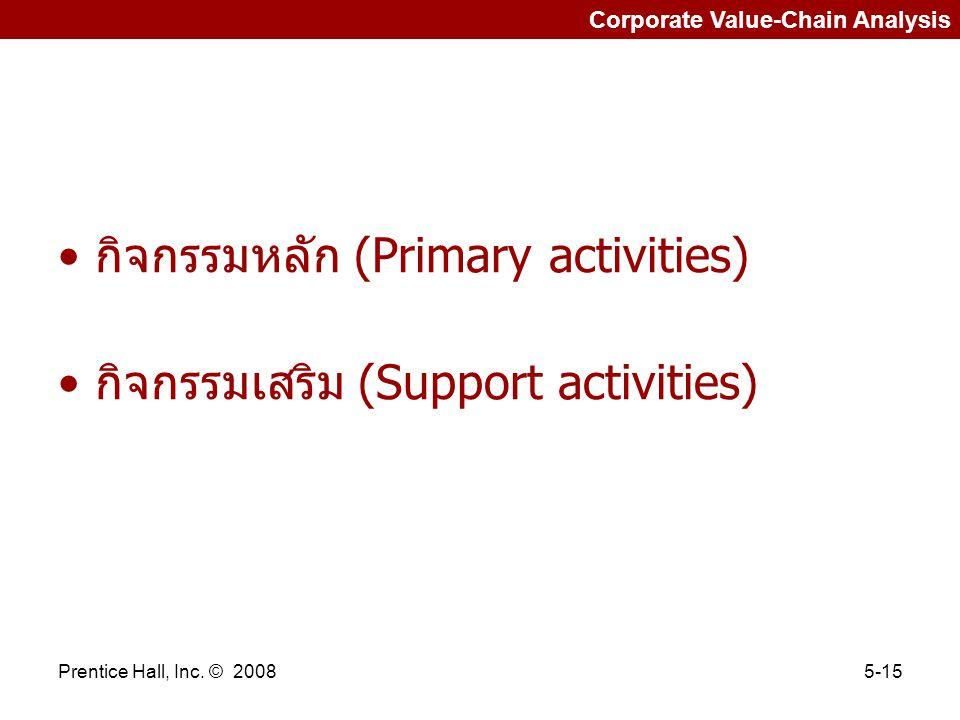 Prentice Hall, Inc. © 20085-15 Corporate Value-Chain Analysis กิจกรรมหลัก (Primary activities) กิจกรรมเสริม (Support activities)