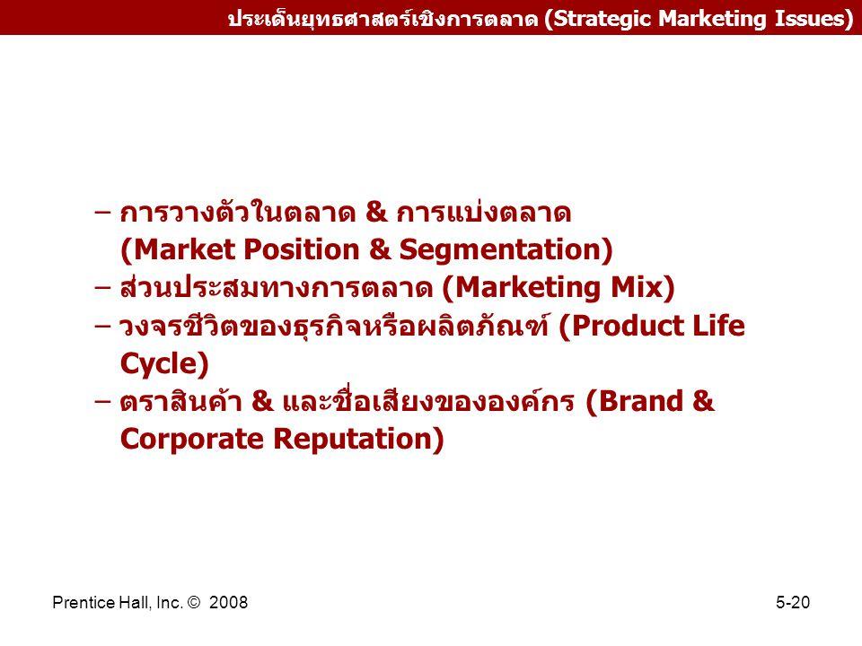 Prentice Hall, Inc. © 20085-20 ประเด็นยุทธศาสตร์เชิงการตลาด (Strategic Marketing Issues) – การวางตัวในตลาด & การแบ่งตลาด (Market Position & Segmentati