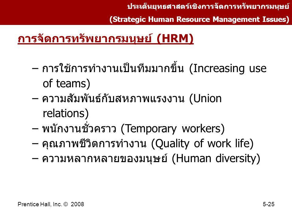 Prentice Hall, Inc. © 20085-25 ประเด็นยุทธศาสตร์เชิงการจัดการทรัพยากรมนุษย์ (Strategic Human Resource Management Issues) การจัดการทรัพยากรมนุษย์ (HRM)