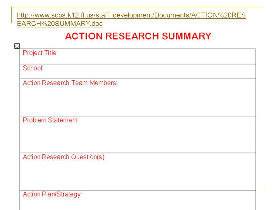 A product of Project CENTRAL, 2004 http://www.scps.k12.fl.us/staff_development/Documents/ACTION%20RES EARCH%20SUMMARY.doc