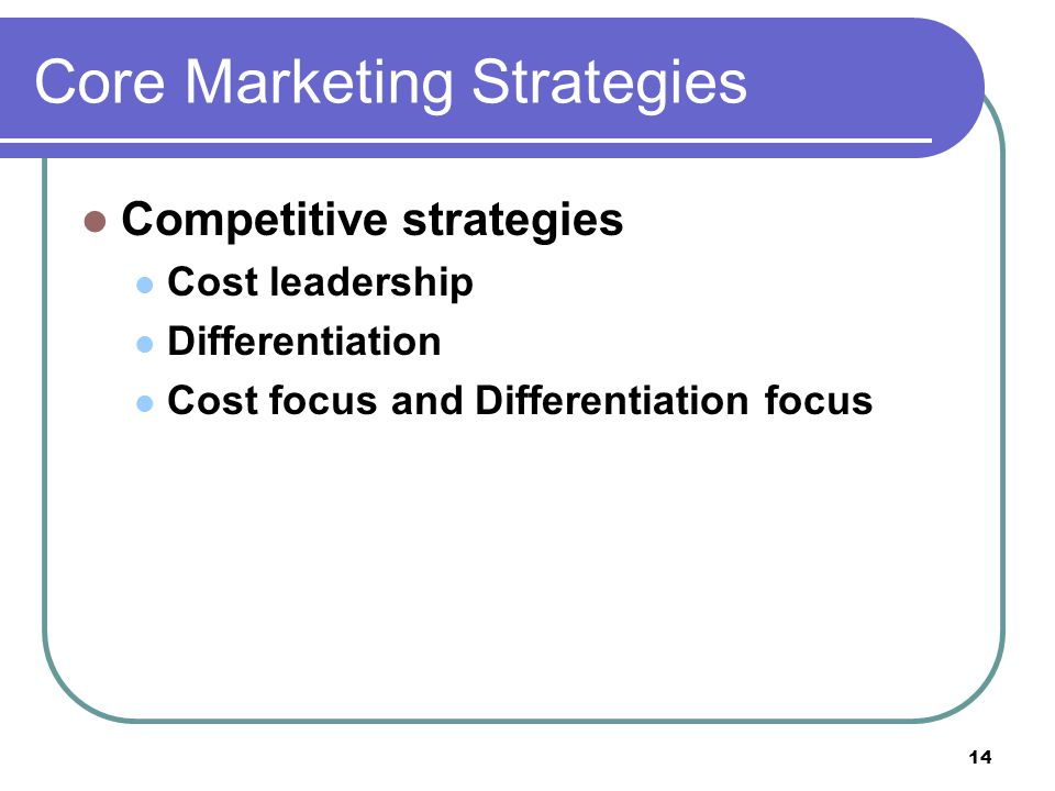 14 Core Marketing Strategies Competitive strategies Cost leadership Differentiation Cost focus and Differentiation focus