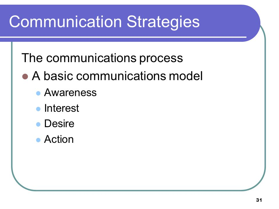 31 Communication Strategies The communications process A basic communications model Awareness Interest Desire Action