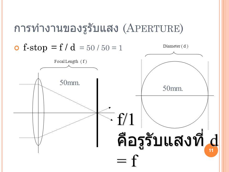 การทำงานของรูรับแสง (A PERTURE ) f-stop = f / d = 50 / 50 = 1 11 Focal Length ( f ) Diameter ( d ) 50mm. f/1 คือรูรับแสงที่ d = f