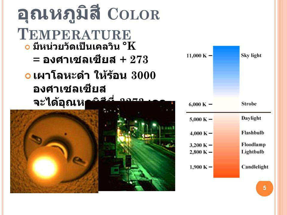 สีของแสงแบบต่างๆ Auto White Balance ( AWB ) = ปรับอัตโนมัติ Day Light / Outdoor = แสงแดดตอนกลางวัน Shade = ถ่ายในร่มไม้ หรือร่มเงาชายคา ตอนกลางวัน Tungsten / Incandescent = แสงหลอดไส้ Cloudy = แสงตอนกลางวันแต่เป็นวันที่ครึ้มฟ้าครึ้มฝน Fluorescent = แสงหลอดฟลูโอเรสเซนท์ Flash = แสงจากไฟแฟลช 6 6
