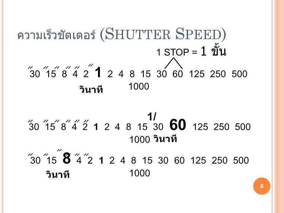 ความเร็วชัตเตอร์ (S HUTTER S PEED ) 8 30 15 8 4 2 1 2 4 8 15 30 60 125 250 500 1000 วินาที 30 15 8 4 2 1 2 4 8 15 30 60 125 250 500 1000 วินาที 1/ 30