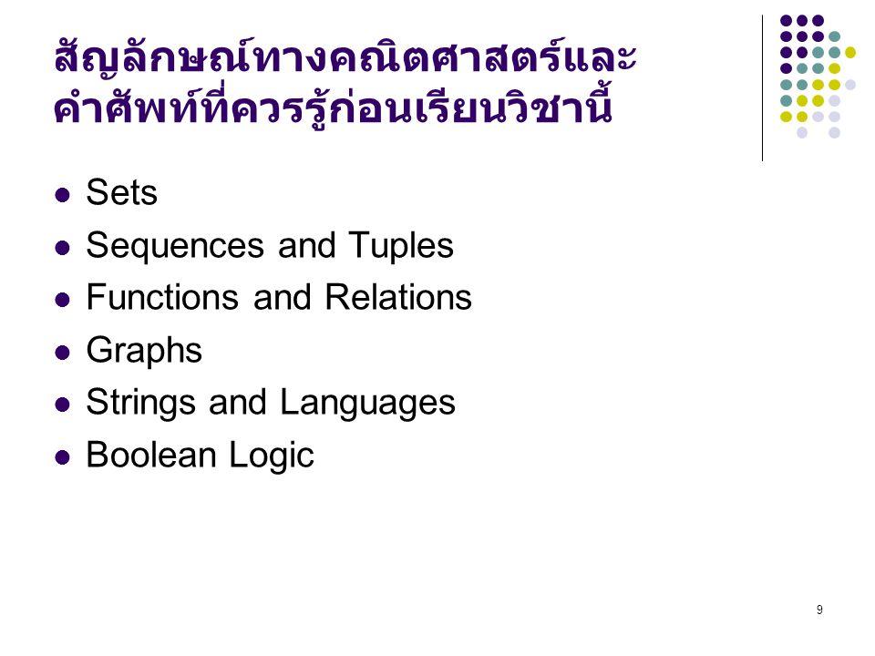 9 สัญลักษณ์ทางคณิตศาสตร์และ คำศัพท์ที่ควรรู้ก่อนเรียนวิชานี้ Sets Sequences and Tuples Functions and Relations Graphs Strings and Languages Boolean Logic