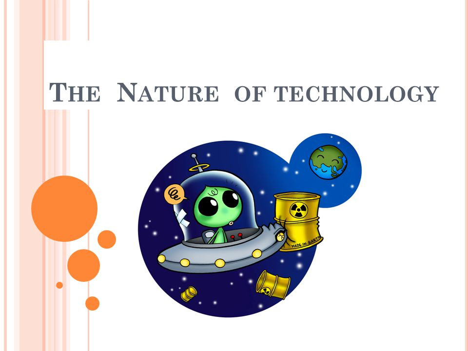 คนรู้จักเทคโนโลยีมานานแล้ว เริ่มต้นจากวัฒนธรรมของมนุษย์ ซึ่งเทคโนโลยีช่วยพัฒนาความ เจริญก้าวหน้าของมนุษย์ได้ ปัจจุบันเทคโนโลยีมีความสำคัญ เช่น การวิจัย ออกแบบ การเวิน อุตสาหกรรม การตลาด เทคโนโลยีสามารถเปลี่ยนแปลง โลกได้ เช่น อาหาร ที่อยู่อาศัย และความ ต้องการต่างๆ ของมนุษย์ ธรรมชาติของเทคโนโลยี มีผลต่อ ความรู้ทางวิทยาศาสตร์