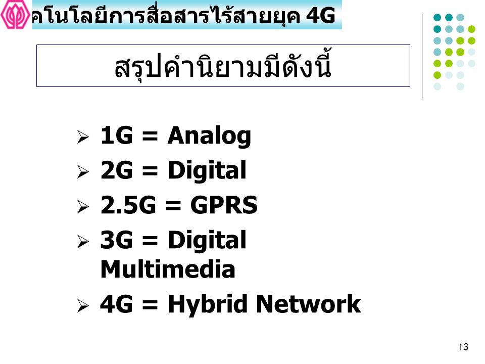 13  1G = Analog  2G = Digital  2.5G = GPRS  3G = Digital Multimedia  4G = Hybrid Network สรุปคำนิยามมีดังนี้ เทคโนโลยีการสื่อสารไร้สายยุค 4G