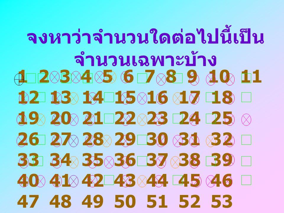 จำนวนนับที่มากกว่า 1 และมีตัว ประกอบเพียง 2 ตัว คือ 1 และตัว ของมันเอง เรียกว่าจำนวนเฉพาะ ตัวอย่างเช่น 3 เป็นจำนวน เฉพาะ เนื่องจากมีตัวประกอบ 2 ตัว คือ 1 และ 3 จาก 1 x 3 15 ไม่เป็นจำนวนเฉพาะ เนื่องจากมีตัวประกอบมากกว่า 2 ตัว คือ 1, 3, 5, 15