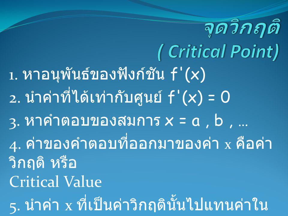 1. หาอนุพันธ์ของฟังก์ชัน f'(x) 2. นำค่าที่ได้เท่ากับศูนย์ f'(x) = 0 3. หาคำตอบของสมการ x = a, b, … 4. ค่าของคำตอบที่ออกมาของค่า x คือค่า วิกฤติ หรือ C