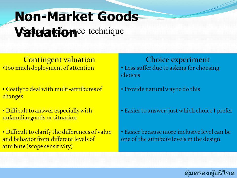 แนวคิดพื้นฐานของ Choice Experiment คนเลือกบริโภคสินค้าและบริการที่มีคุณลักษณะใดลักษณะ หนึ่งโดยเฉพาะเพื่อให้ตนเองมีความพึงพอใจสูงสุดภายใต้ ข้อจำกัดของรายได้ คุณลักษณะใดบ้างของสินค้าหรือบริการที่ผู้บริโภคให้ ความสำคัญ ผู้บริโภคให้ระดับความสำคัญต่อคุณลักษณะต่าง ๆ แตกต่างกันหรือไม่ แตกต่างกันอย่างไร และแตกต่างกัน มากน้อยขนาดไหน ผู้บริโภคมีความยินดีที่จะจ่ายเท่าไหร่เพื่อให้ได้สินค้าและ บริการที่มีคุณลักษณะตามต้องการ เงินที่ยินดีจ่ายเพื่อให้บุตรหลานปลอดภัยจากสาร ตะกั่ว = ความรู้สึกปลอดภัย