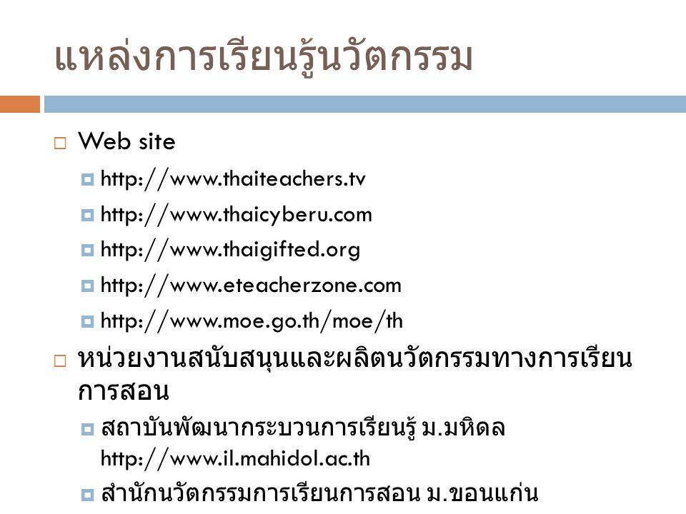 แหล่งการเรียนรู้นวัตกรรม  Web site  http://www.thaiteachers.tv  http://www.thaicyberu.com  http://www.thaigifted.org  http://www.eteacherzone.com