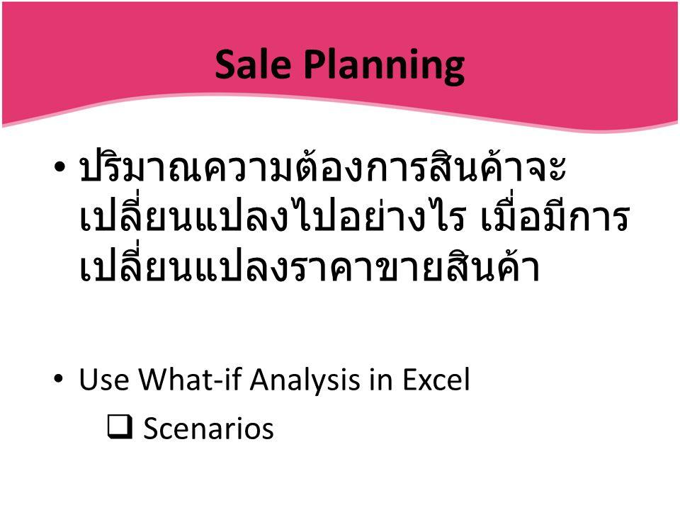 Sale Planning ปริมาณความต้องการสินค้าจะ เปลี่ยนแปลงไปอย่างไร เมื่อมีการ เปลี่ยนแปลงราคาขายสินค้า Use What-if Analysis in Excel  Scenarios