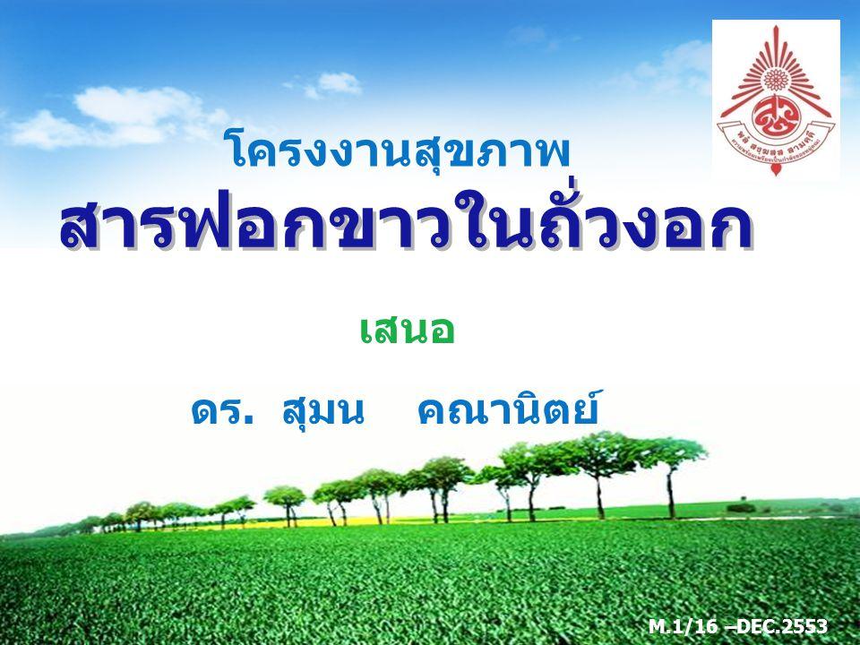 LOGO เสนอ สารฟอกขาวในถั่วงอก โครงงานสุขภาพ ดร. สุมน คณานิตย์ M.1/16 –DEC.2553