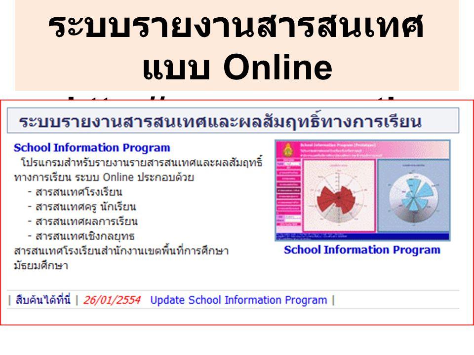 ระบบรายงานสารสนเทศ แบบ Online http://gpa.moe.go.th