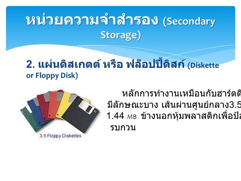 2. แผ่นดิสเกตต์ หรือ ฟล็อปปี้ดิสก์ (Diskette or Floppy Disk) หน่วยความจำสำรอง (Secondary Storage) หลักการทำงานเหมือนกับฮาร์ดดิสก์ ผลิตจากไมลาร์ มีลักษ