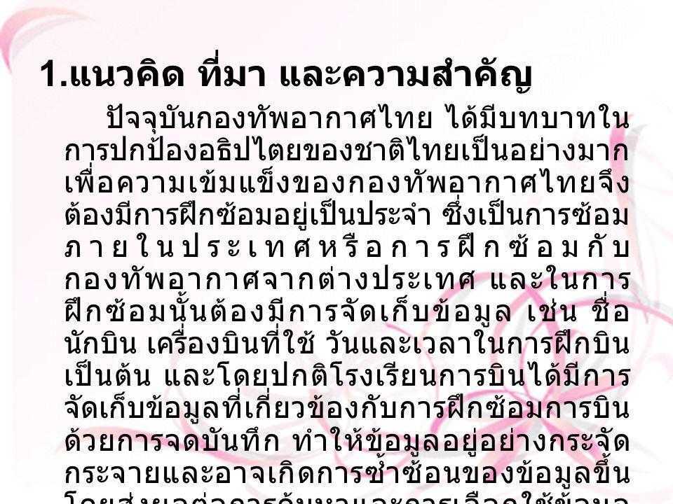 1. แนวคิด ที่มา และความสำคัญ ปัจจุบันกองทัพอากาศไทย ได้มีบทบาทใน การปกป้องอธิปไตยของชาติไทยเป็นอย่างมาก เพื่อความเข้มแข็งของกองทัพอากาศไทยจึง ต้องมีกา