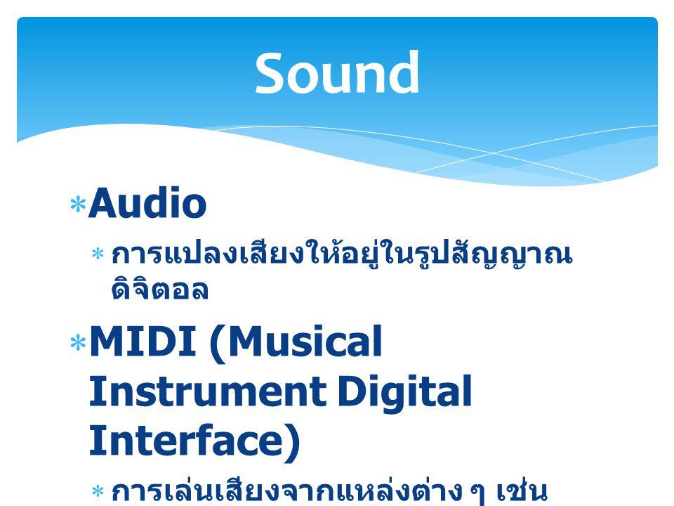  Audio  การแปลงเสียงให้อยู่ในรูปสัญญาณ ดิจิตอล  MIDI (Musical Instrument Digital Interface)  การเล่นเสียงจากแหล่งต่าง ๆ เช่น คีย์บอร์ด การประกอบเสียงขึ้นมา (Synthesizer) Sound