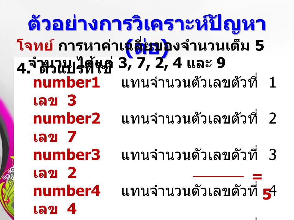 Free Powerpoint TemplatesPage 14 4. ตัวแปรที่ใช้ ตัวอย่างการวิเคราะห์ปัญหา ( ต่อ ) number1 แทนจำนวนตัวเลขตัวที่ 1 เลข 3 number2 แทนจำนวนตัวเลขตัวที่ 2