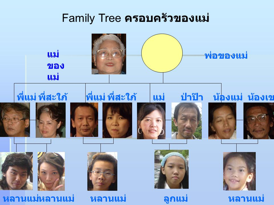 Family Tree ครอบครัวของแม่ แม่ ของ แม่ พ่อของแม่ พี่แม่ พี่สะใภ้ แม่ป่าป๊าน้องแม่น้องเขย หลานแม่ ลูกแม่