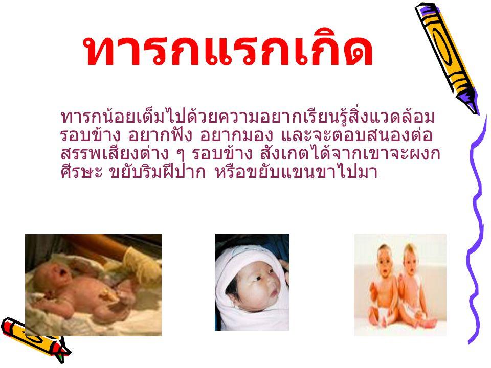 ทารกแรกเกิด ทารกน้อยเต็มไปด้วยความอยากเรียนรู้สิ่งแวดล้อม รอบข้าง อยากฟัง อยากมอง และจะตอบสนองต่อ สรรพเสียงต่าง ๆ รอบข้าง สังเกตได้จากเขาจะผงก ศีรษะ ขยับริมฝีปาก หรือขยับแขนขาไปมา