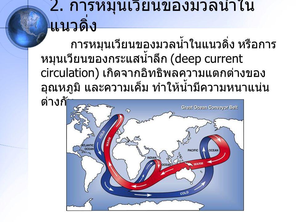 2. การหมุนเวียนของมวลน้ำใน แนวดิ่ง การหมุนเวียนของมวลน้ำในแนวดิ่ง หรือการ หมุนเวียนของกระแสน้ำลึก (deep current circulation) เกิดจากอิทธิพลความแตกต่าง