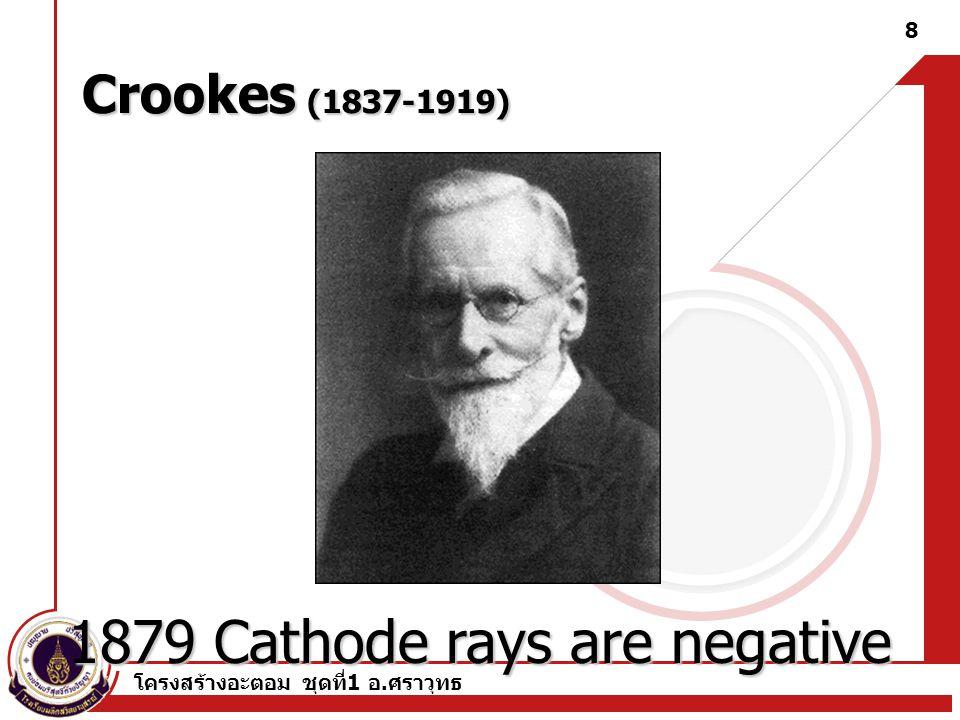โครงสร้างอะตอม ชุดที่ 1 อ.ศราวุทธ 7 อิเล็กตรอน (Electron) ในปี ค.ศ.1874 G.J.