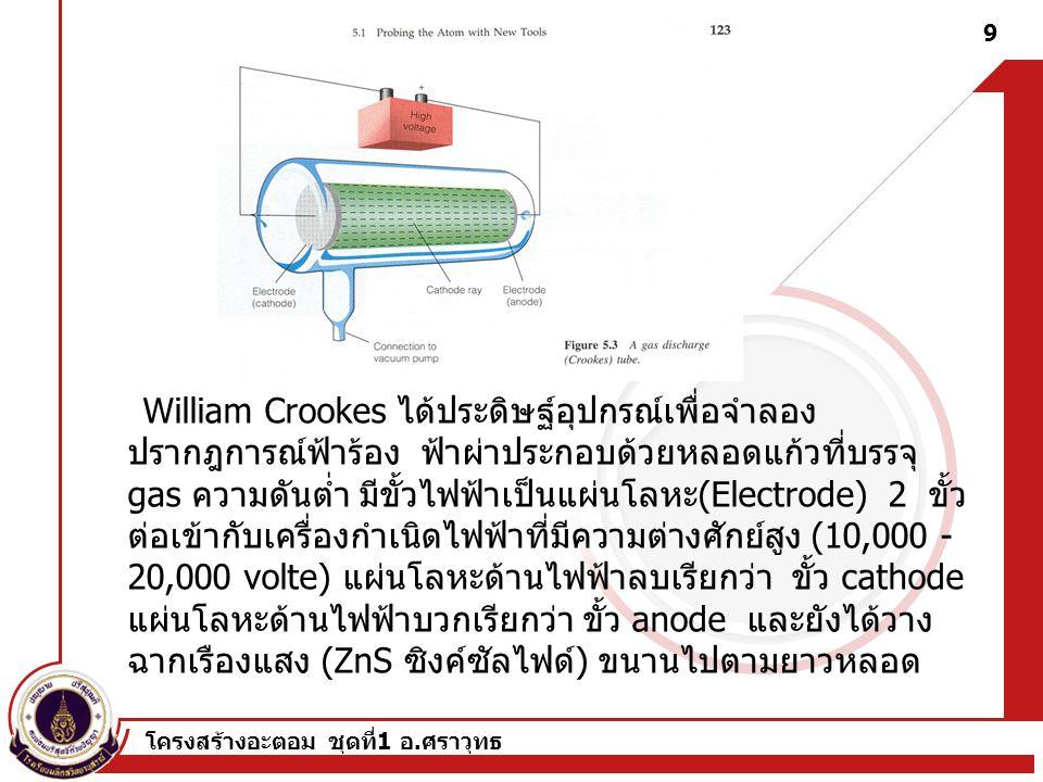 โครงสร้างอะตอม ชุดที่ 1 อ. ศราวุทธ 8 Crookes (1837-1919) 1879 Cathode rays are negative