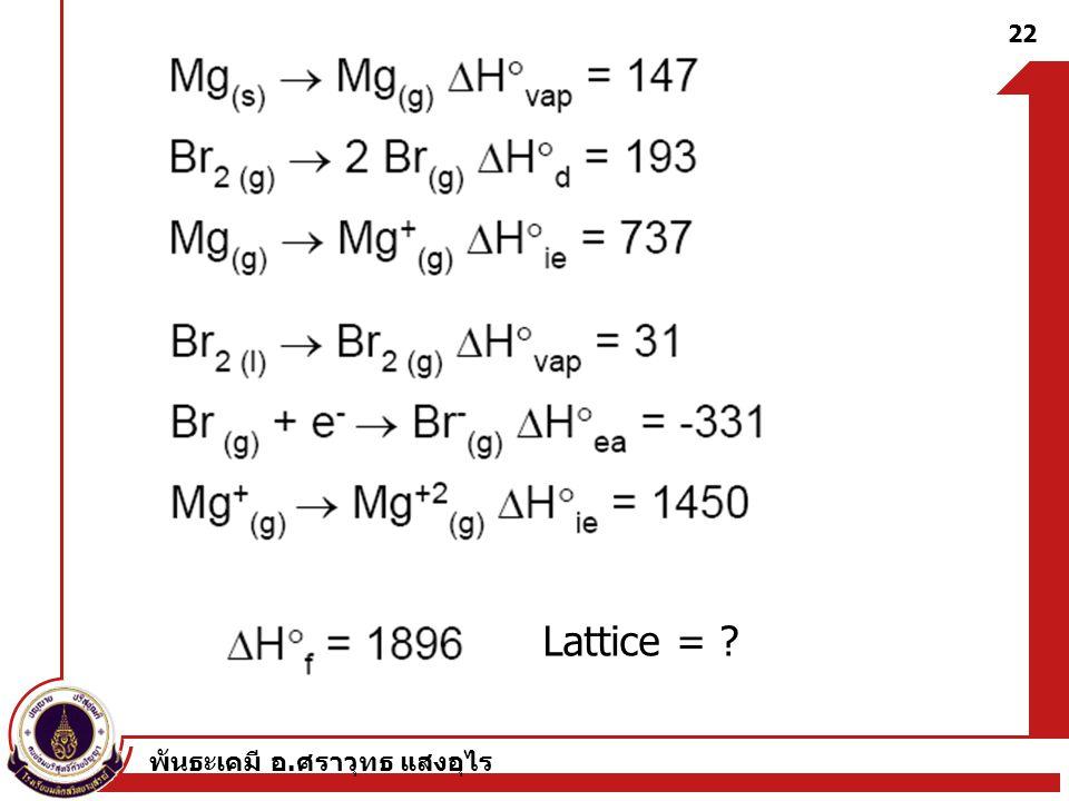 พันธะเคมี อ. ศราวุทธ แสงอุไร 22 Lattice = ?