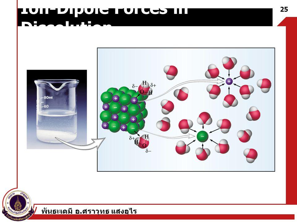 พันธะเคมี อ. ศราวุทธ แสงอุไร 25 Ion-Dipole Forces in Dissolution