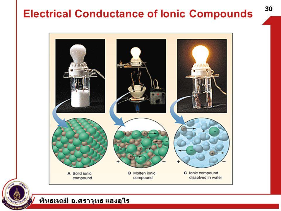พันธะเคมี อ. ศราวุทธ แสงอุไร 30 Electrical Conductance of Ionic Compounds