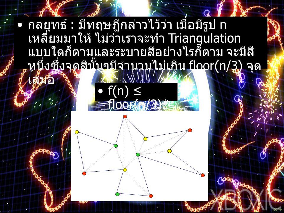 กลยุทธ์ : มีทฤษฎีกล่าวไว้ว่า เมื่อมีรูป n เหลี่ยมมาให้ ไม่ว่าเราจะทำ Triangulation แบบใดก็ตามและระบายสีอย่างไรก็ตาม จะมีสี หนึ่งซึ่งจุดสีนั้นๆมีจำนวนไ