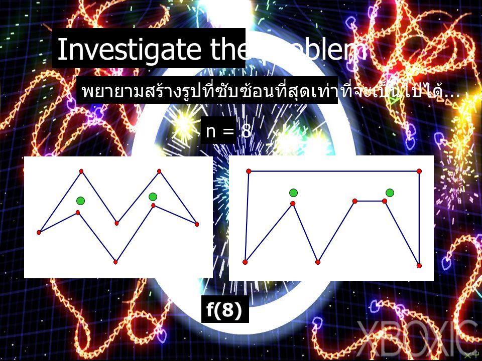 Investigate the problem พยายามสร้างรูปที่ซับซ้อนที่สุดเท่าที่จะเป็นไปได้... n = 8 f(8) = 2