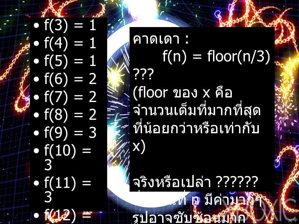 f(3) = 1 f(4) = 1 f(5) = 1 f(6) = 2 f(7) = 2 f(8) = 2 f(9) = 3 f(10) = 3 f(11) = 3 f(12) = 3 … คาดเดา : f(n) = floor(n/3) ??? (floor ของ x คือ จำนวนเต