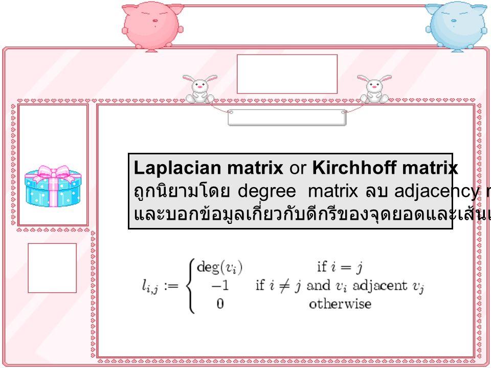 Laplacian matrix or Kirchhoff matrix ถูกนิยามโดย degree matrix ลบ adjacency matrix และบอกข้อมูลเกี่ยวกับดีกรีของจุดยอดและเส้นเชื่อม ซึ่งนิยามโดย
