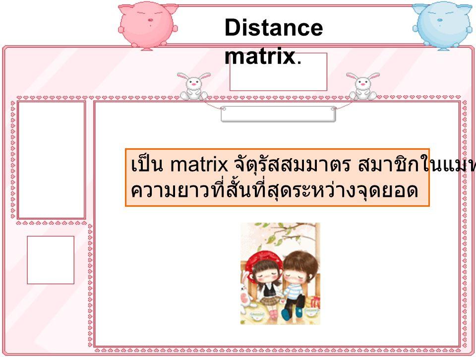 Distance matrix. เป็น matrix จัตุรัสสมมาตร สมาชิกในแมทริกซ์ คือ ความยาวที่สั้นที่สุดระหว่างจุดยอด