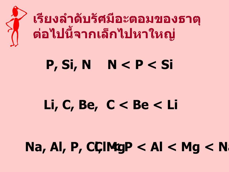 เรียงลำดับรัศมีอะตอมของธาตุ ต่อไปนี้จากเล็กไปหาใหญ่ P, Si, N Li, C, Be, N < P < Si C < Be < Li Na, Al, P, Cl, Mg Cl < P < Al < Mg < Na