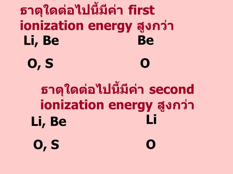 ธาตุใดต่อไปนี้มีค่า first ionization energy สูงกว่า Li, Be Be ธาตุใดต่อไปนี้มีค่า second ionization energy สูงกว่า O, S O Li, Be Li O, S O