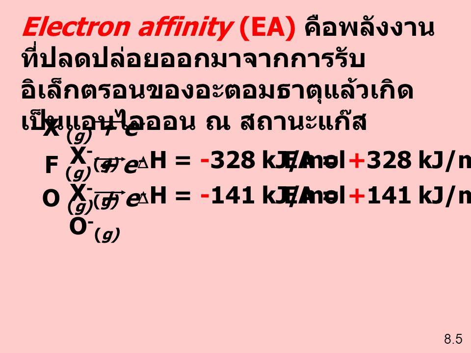Electron affinity (EA) คือพลังงาน ที่ปลดปล่อยออกมาจากการรับ อิเล็กตรอนของอะตอมธาตุแล้วเกิด เป็นแอนไอออน ณ สถานะแก๊ส X (g) + e - X - (g) 8.5 F (g) + e