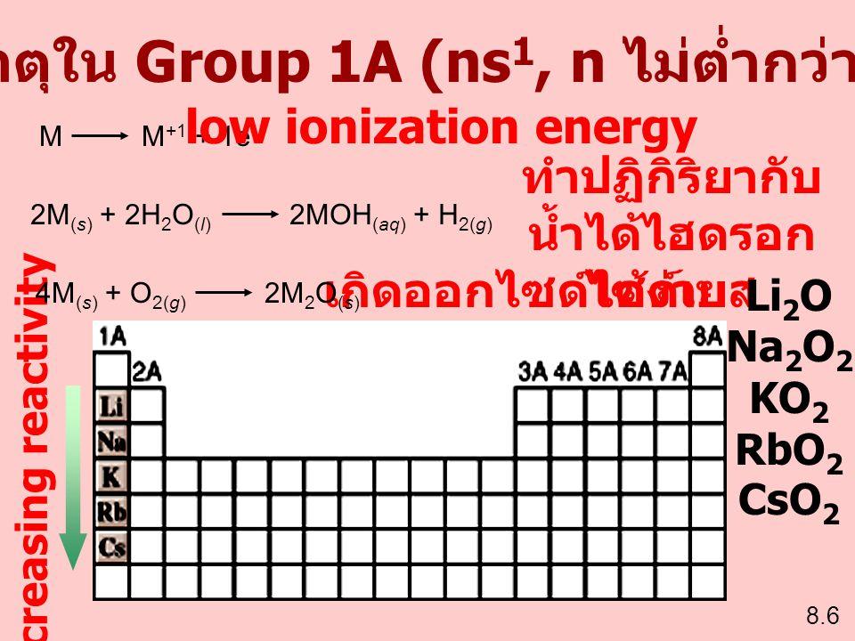 ธาตุใน Group 1A (ns 1, n ไม่ต่ำกว่า 2) M M +1 + 1e - 2M (s) + 2H 2 O (l) 2MOH (aq) + H 2(g) 8.6 Increasing reactivity low ionization energy ทำปฏิกิริย