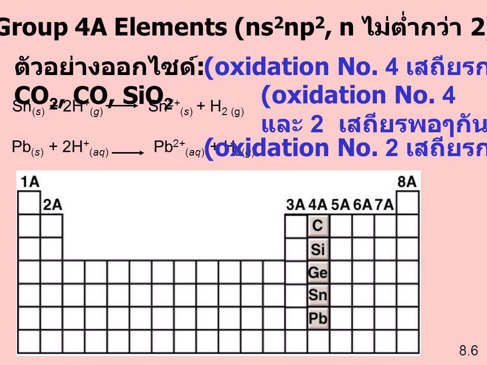 Group 4A Elements (ns 2 np 2, n ไม่ต่ำกว่า 2) 8.6 Sn (s) + 2H + (g) Sn 2+ (s) + H 2 (g) Pb (s) + 2H + (aq) Pb 2+ (aq) + H 2(g) ตัวอย่างออกไซด์ : CO 2,