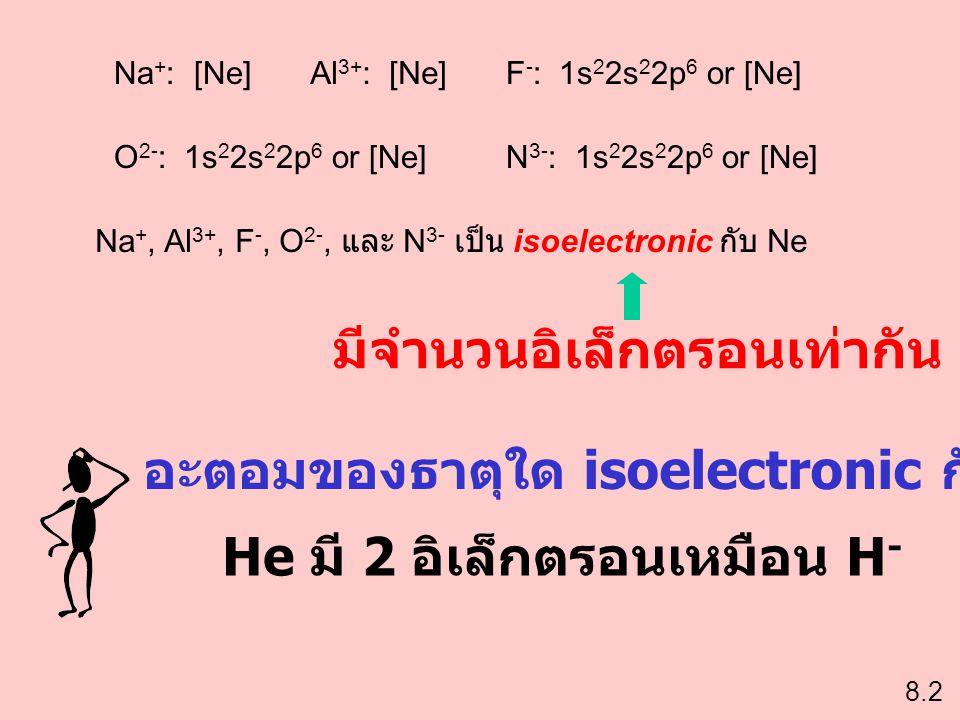 Na + : [Ne]Al 3+ : [Ne]F - : 1s 2 2s 2 2p 6 or [Ne] O 2- : 1s 2 2s 2 2p 6 or [Ne]N 3- : 1s 2 2s 2 2p 6 or [Ne] Na +, Al 3+, F -, O 2-, และ N 3- เป็น i