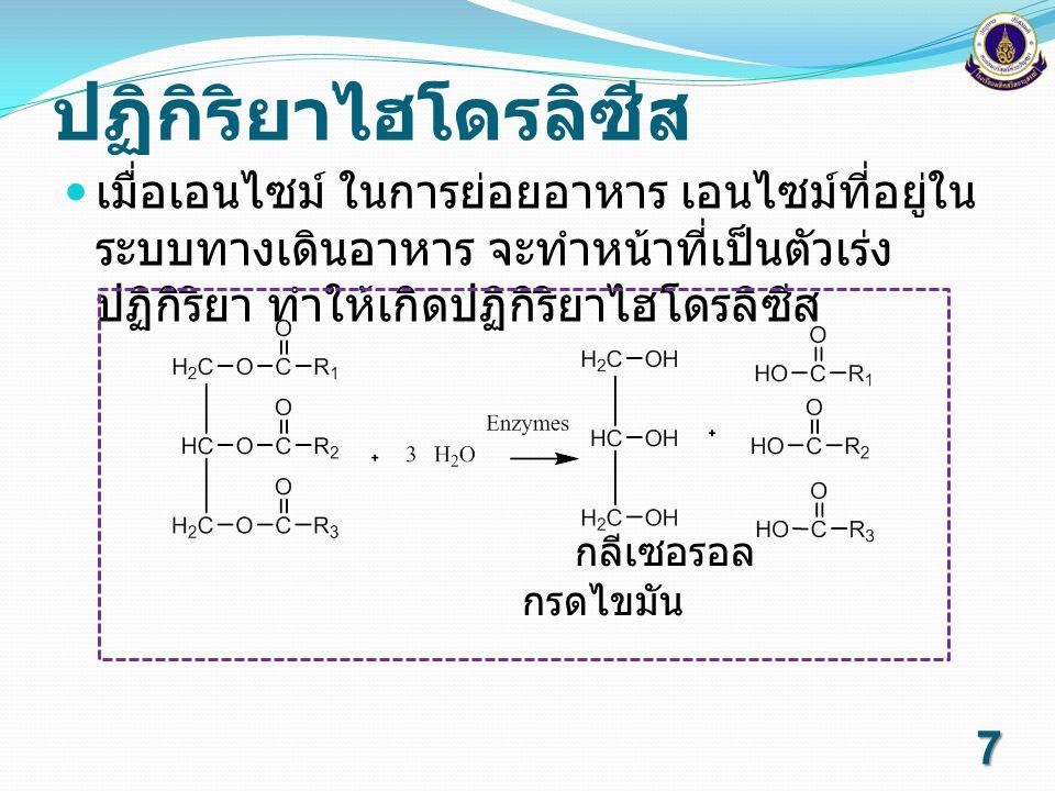 ไตรเอซิลกลีเซอรอลทำปฏิกิริยากับเบสแก่เช่นโซเดียมไฮดรอก ไซด์ หรือโปแตสเซียมไฮดรอกไซด์ ปฏิกิริยาซาปอนนิฟิเคชัน กลีเซอรอล สบู่ 8
