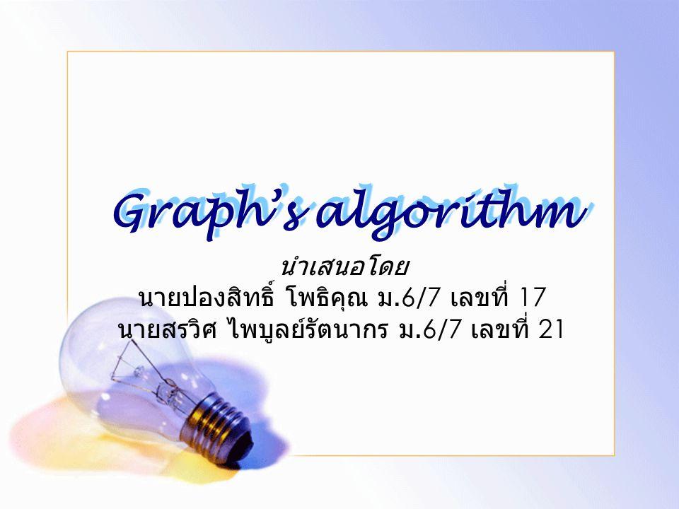 Graph's algorithm นำเสนอโดย นายปองสิทธิ์ โพธิคุณ ม.6/7 เลขที่ 17 นายสรวิศ ไพบูลย์รัตนากร ม.6/7 เลขที่ 21